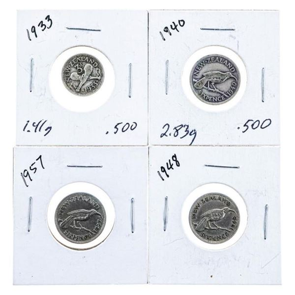 Group of 4 Coins of New Zealand Silver