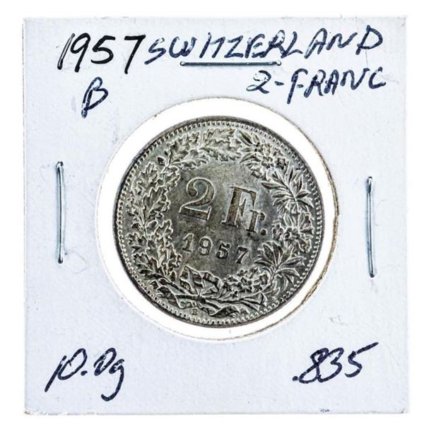 1957B Switzerland 2 Franc Coin .835 Silver -10.gr