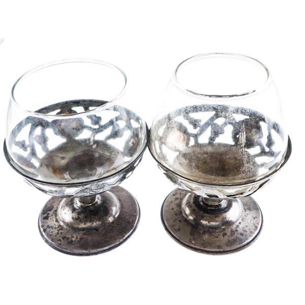 Estate Lot 2 Silver & Glass Brandy Goblets Vintage  Design