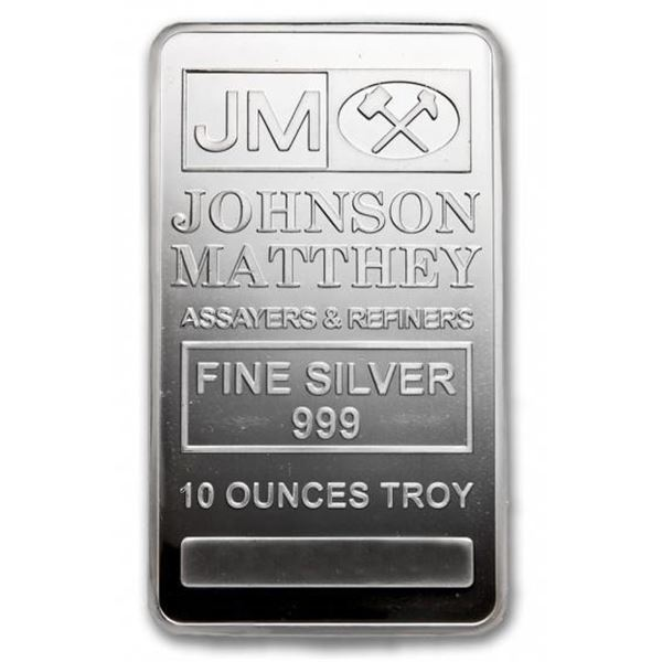 Collector Investment Bullion- JM .999 Fine Silver  10 oz. Bar, Serialized - No Longer In Production