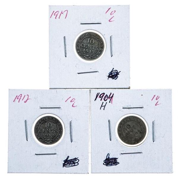 Lot 3 NFLD.-1904H,1912,1917 Silver 10 Cents