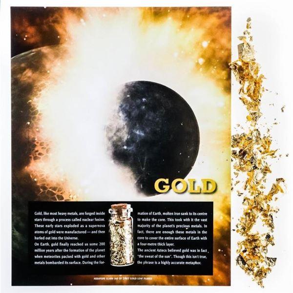 Assayers Glass Jar of 24KT Gold Leaf Flakes w/  Display Giclee Art Card