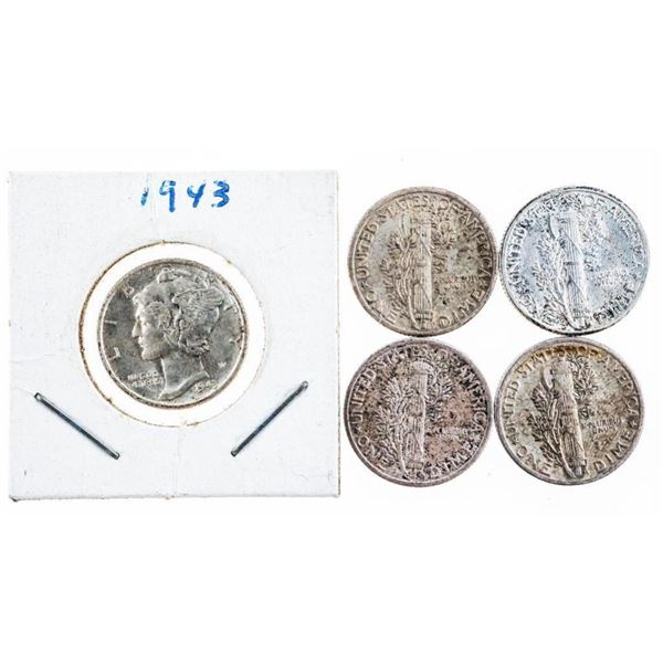 Lot of 5 USA Silver Dimes