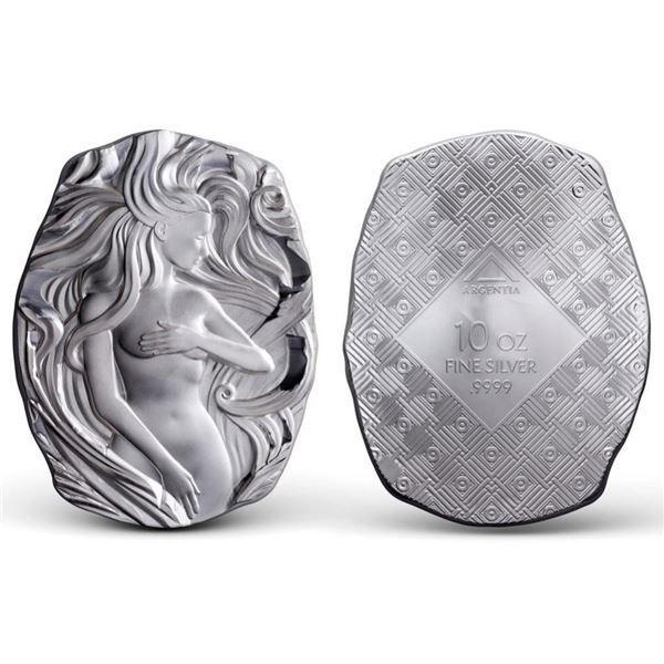 Art Nouveau Woman with Flowing Hair - 10oz Bar,  Argentia .9999 Fine Silver - High Relief Bar  (Allo