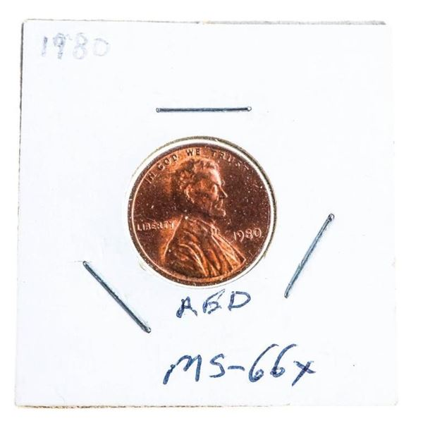 1980 USA Lincoln cent Coin MS66x