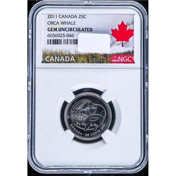 Canada 2011 25 Cents ORCA WHALE GEM UNC NGC