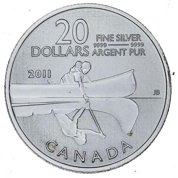 RCM 2011 .9999 Fine Silver $20 The Canoe - First  Issue