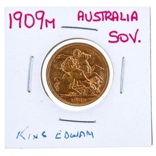 1909M Australia King Edward Gold Sovereign .917  Fine