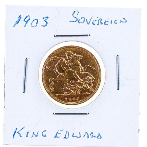 19003 GB King Edward Gold Sovereign Coin .917 Fine  Gold
