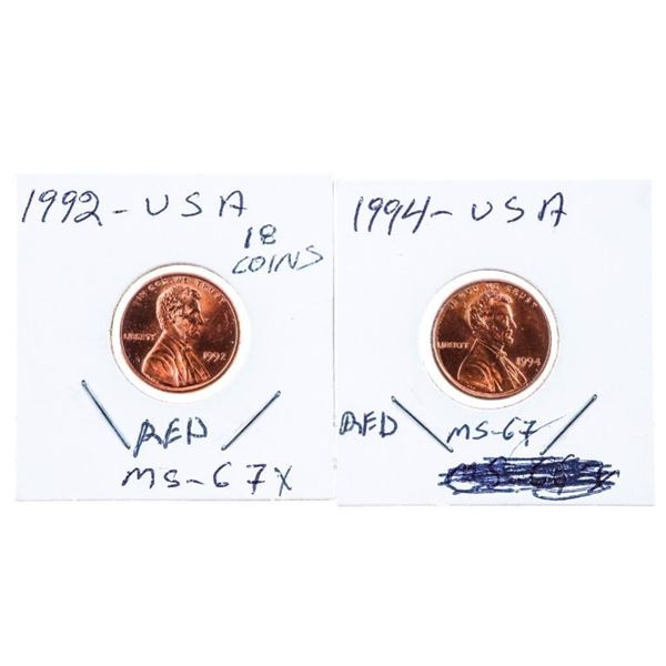 Lot 2 USA Lincoln Cents 1992 & 1994 MS67