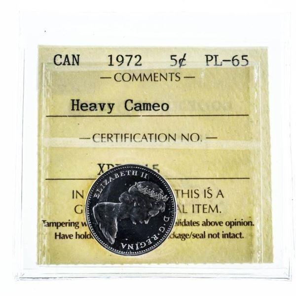 1972 Canada Five Cents Heavy Cameo PL 65 ICCS