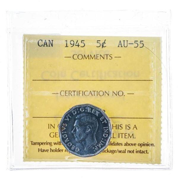 1945 Canada 5 cents AU55 ICCS