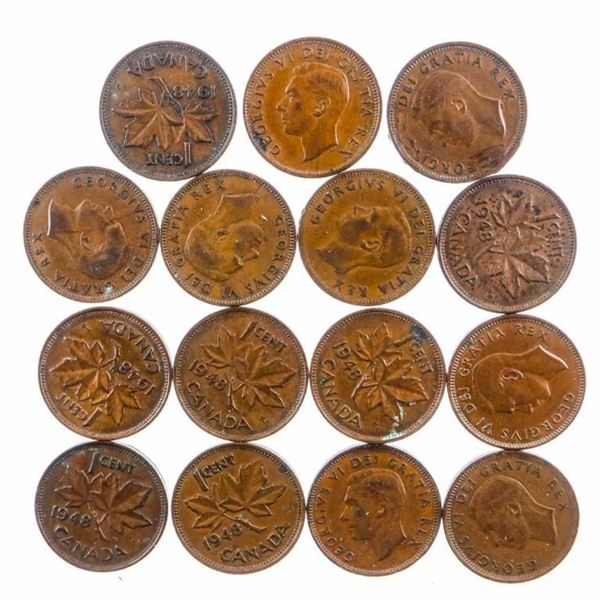 Lot 15 Canada 1948 King George One cent coins
