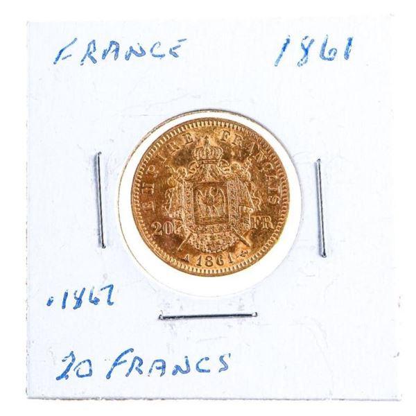 FRANCE 1861 Gold 20 Francs Coin .1867