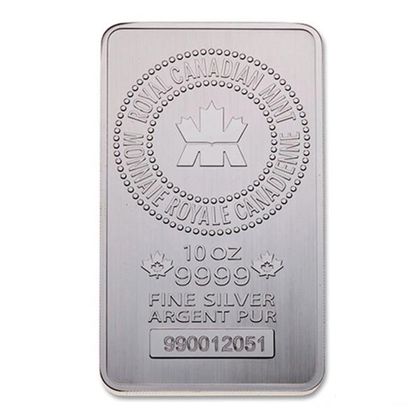 RCM .9999 Fine Silver 10 oz. Bar - Produced by the  world-renowned Royal Canadian Mint, the 10 ounce