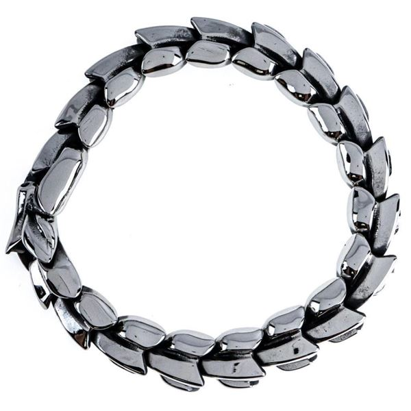Gents Heavy Link Bracelet With Cobra Head Clasp  Over 80 Grams Stainless Steel