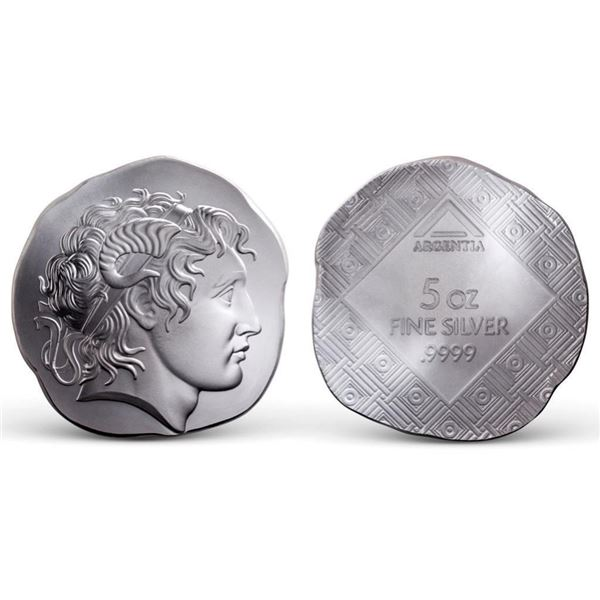 """ARGENTIA"""" .9999 Fine Silver Round - Alexander the  Great Style, Herakles - High Relief of """"HERAKLES"""""""