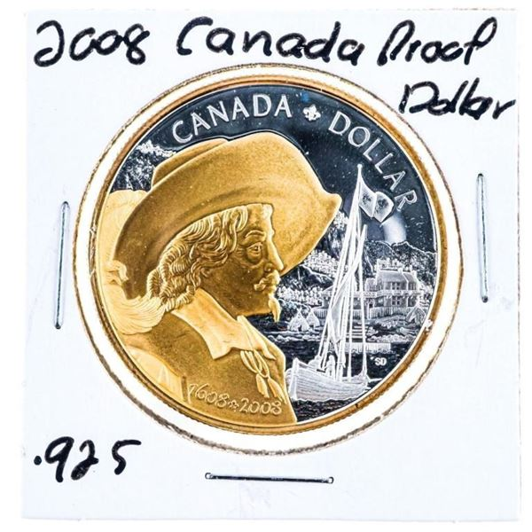 2008 RCM Proof Silver Dollar 925 Silver w/ 24kt  Gold Plating