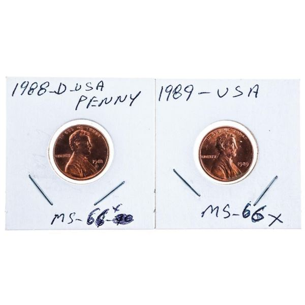 Lot 2 USA Lincoln Cents - 1988 & 1989 -MS66