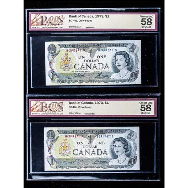 Lot 2 Bank of Canada 1973 $1 AU58 BCS in Sequence  (722)