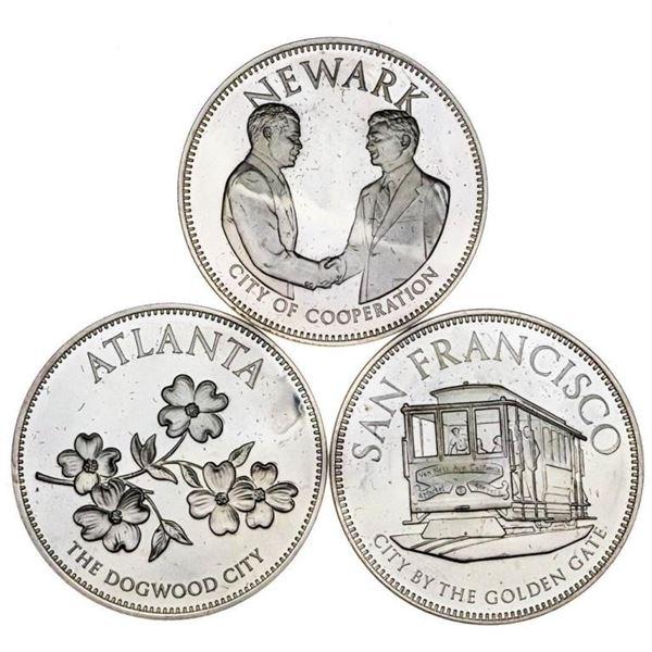 Lot 3 USA Conference of Mayors - 925 Sterling  Silver Medallions - Atlanta - San Francisco -  Newark