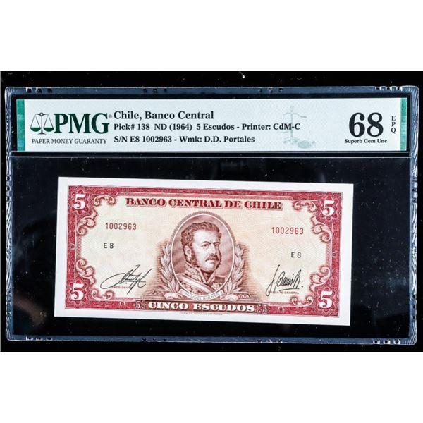 Chile, Banco Central 1964 5 Escudos GEM UNC 68 PMG  Only 4 Exist (710)