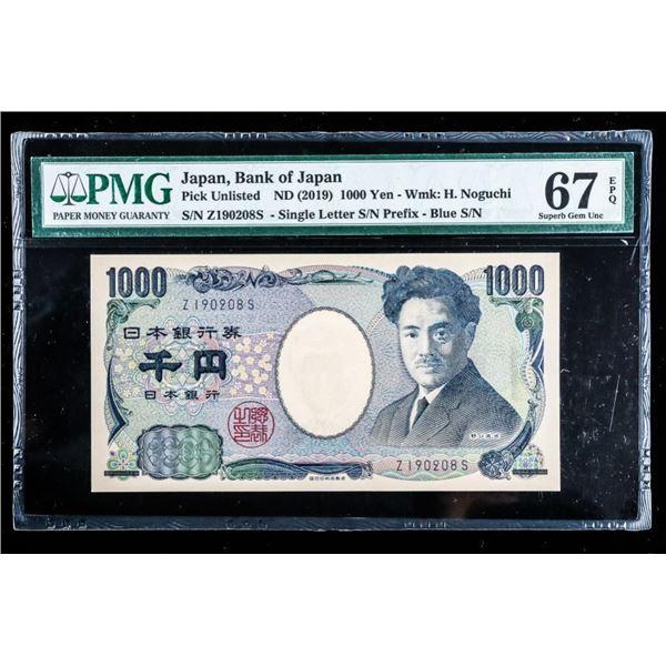 Bank of Japan, ND 2019 -1000 YEN -GEM UNC 67 PMG  (709)