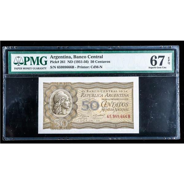 Central Bank Argentina - 1951-56 50 Centavos ^&  GEM UNC (713)