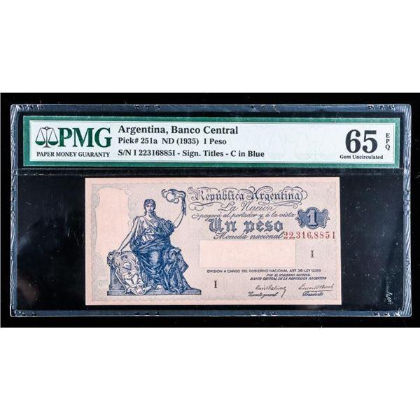 Central Banco Argentina 1935 1 Peso GEM UNC  65(712)