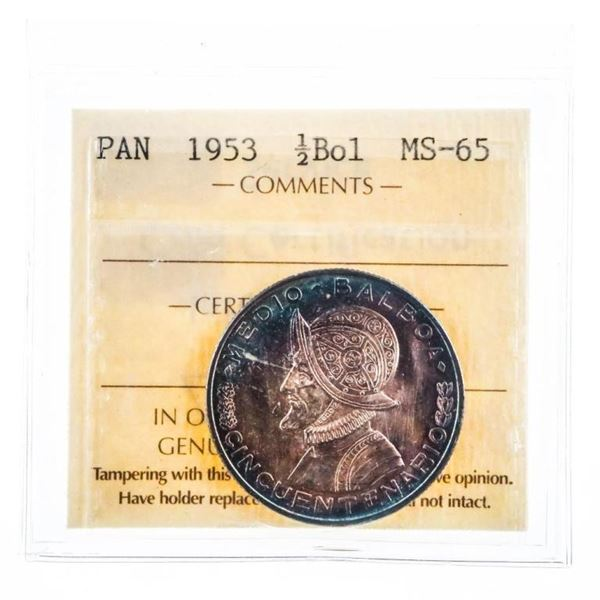 Panama 1953 1/2 Bol MS65 ICCS