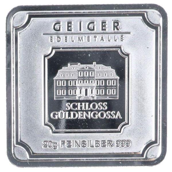 GEIGER - Germany Mint Square .999 Silver Bar -  Serialized Glows in The Dark