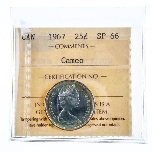 1967 Canada Silver 25 Cents SP-66 Cameo