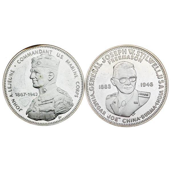 Lot 2 925 Sterling Silver Medallions -54 Grams