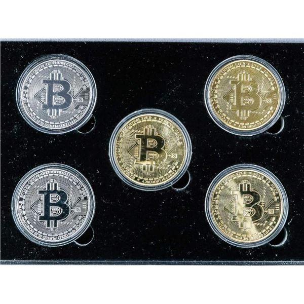 BITCOIN - 24kt Gold Foil & .999 Fine Silver Leaf 5  Medallion Set LE
