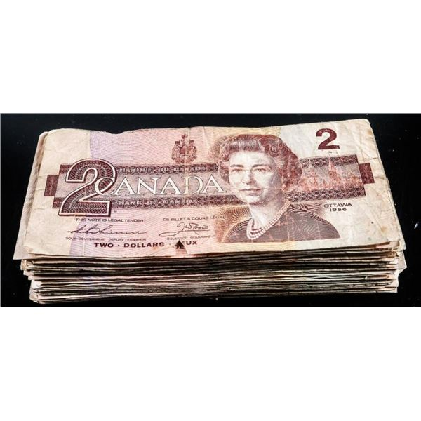 Lot 72 Canada 1986 $2 Notes - Recalled 2020