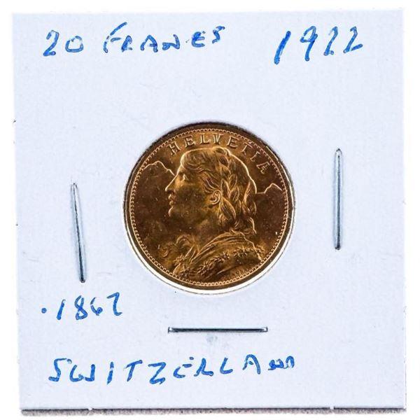 1922 Switzerland 20 Francs GOLD Coin. 1867 Fine  Gold