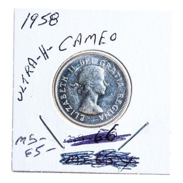 1958 Canada Silver 25 Cents MS65 Ultra Heavy Cameo