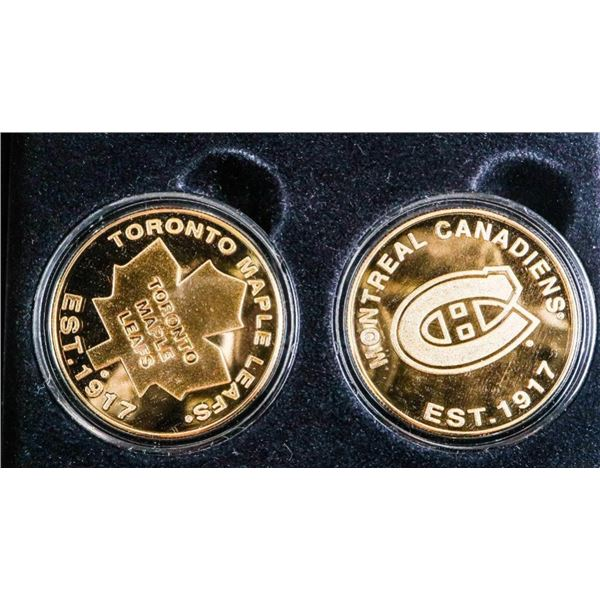24kt Gold Overlay Medallions - Toronto -Montreal  Stanley Cups