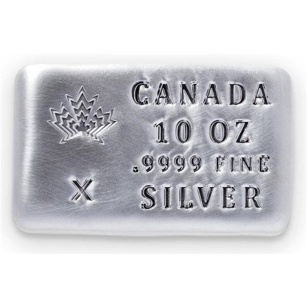 Canada's Maple Leaf - .999 Fine Silver 10oz Bar.  (Available for Pick Up or Delivery Within 7-14  Da