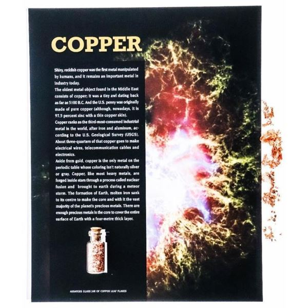 Assayers Safety Glass Jar of .999 Fine Copper  Flakes