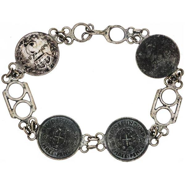 Estate Sterling Silver Coin Bracelet