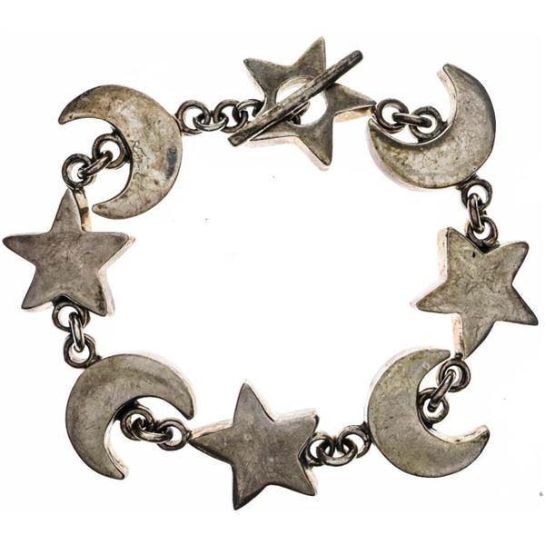 Estate Sterling Silver Bracelet - Star- Moon Etc.  44 Grams