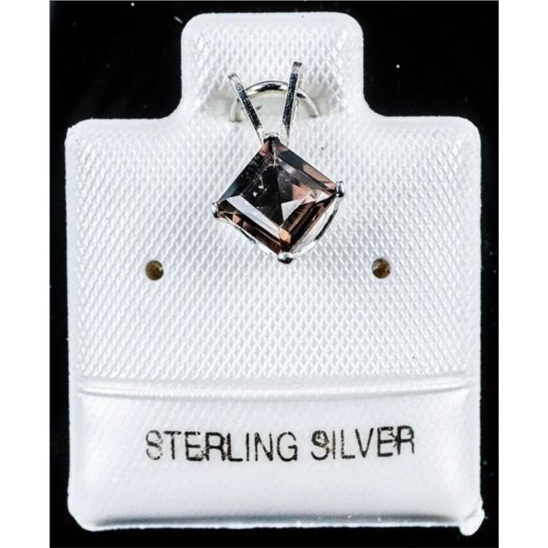 925 Sterling Silver - .60ct. Smoket Quartz Square  Cut Pendant