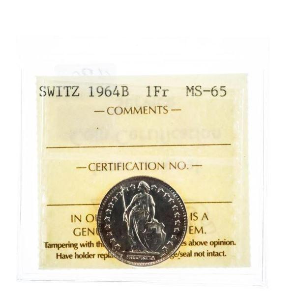 Switz. 1964B 1Fr. MS 65 ICCS