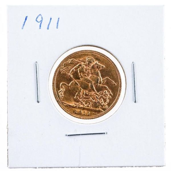 1911 Great Britain Sovereign .917 Fine Gold -110  Years Old