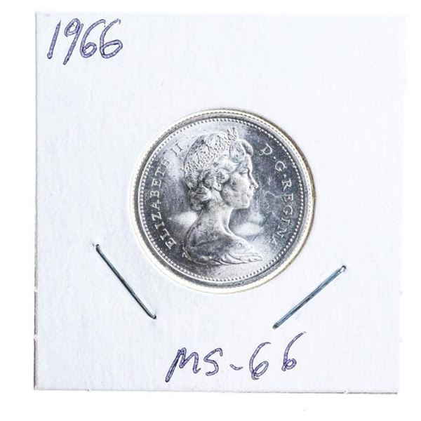 1966 Canada Silver 25 Cents MS66