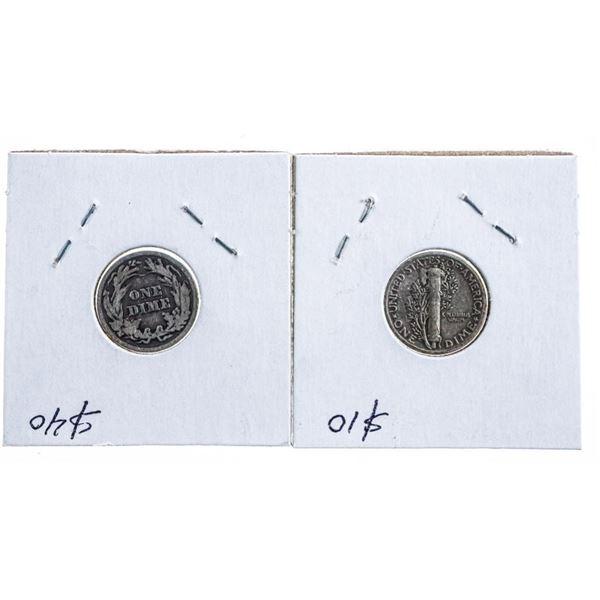 Lot 2 USA Silver Dimes - 1903 & 1944