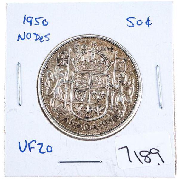 1950 Canada Silver 50 Cents no Design