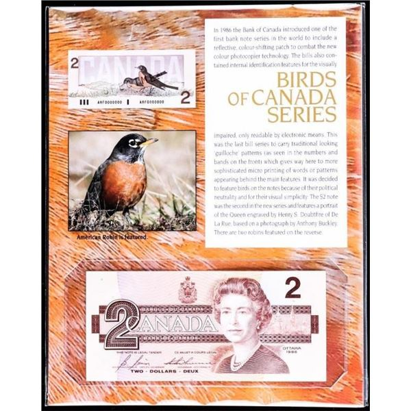 Bank of Canada 1986 2.00 with Birds of Canada  Series Art Card.