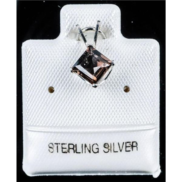 925 Sterling Silver Smokey Quartz Square Cut .60ct  Pendant